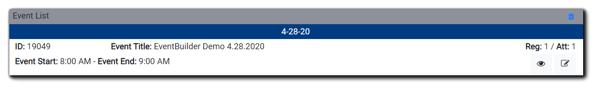 Screenshot: Event List widget.