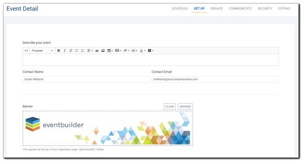 Screenshot: Event Detail Set Up window.