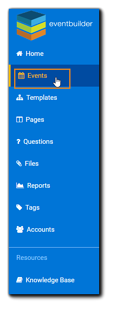 Screenshot: Navigation with Events section highlighted.