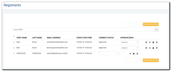 Screenshot: Selected Event's Registrant Management window.
