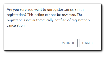 Screenshot: Cancel Registration confirmation window.