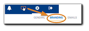 Screenshot: Portal configuration icon highlighted with an arrow pointing toward the Branding option.