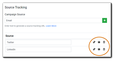 Screenshot: Source tracking interface with link, save, and trash icons highlighted.