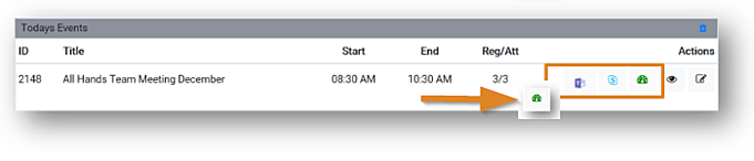 Screenshot: Event listing with presentation environment and console icons, the console icon highlighted.