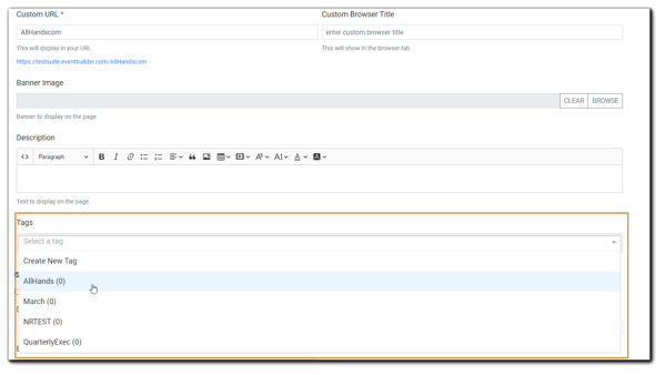 Screenshot of the Tags dropdown menu on the Listing Page create dialog.
