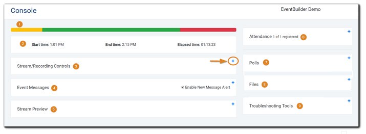 Screenshot: Moderator Console, with each control and widget numbered.