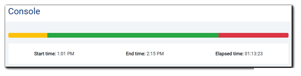 Screenshot: Stream indicator and event start, end, and elapsed time.