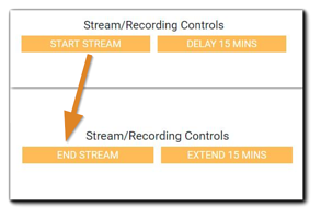 Screenshot: Stream/Recording Controls with two views - one with a 'start stream' button and one with an 'end stream' button.