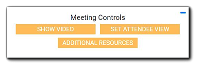 Screenshot: Meeting Controls options: Show Video, Set Attendee View, and Additional Resources.
