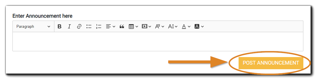 """Screenshot: Announcements dialog with orange """"post announcement"""" button highlighted."""
