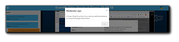 Screenshot: Attendee view of a private message from Moderator.