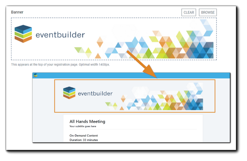 Screenshot: Event banner in event build, and its appearance on a Registration page. Optimal width: 1400 pixels.