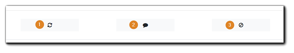 Screenshot: Attendee controls for Moderators, numbered: 1, refresh browser icon, 2, private message icon, 3, block Attendee icon.