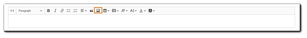 Screenshot: HTML editor with add image icon highlighted.