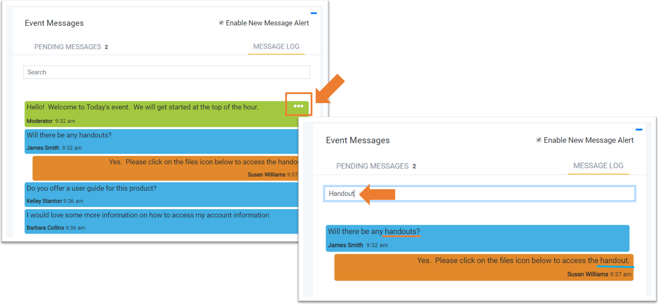 Screenshot: Search event messages function with three dots highlighted in one image and search field in another.