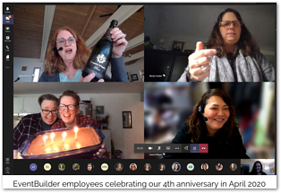 Screenshot: EventBuilder's 4th anniversary virtual celebration.