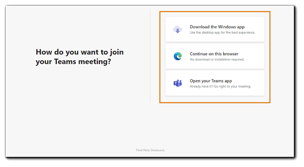 "Screenshot: Teams meeting join dialog. Transcript: ""How do you want to join your Teams Meeting?"" Three options: Windows app, continue on browser, Teams app."