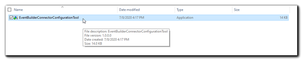 Screenshot: File Manager window with EventBuilder Connector Configuration Tool highlighted.