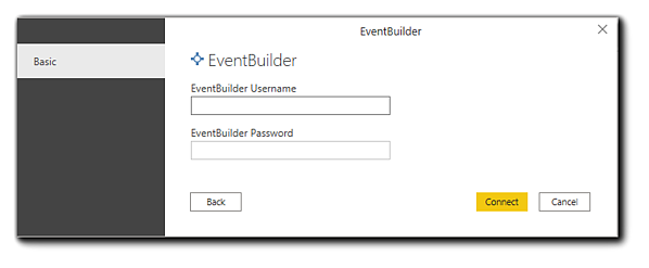 Screenshot: EventBuilder login prompt for Microsoft'sPower BI tool.