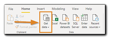 Screenshot: Power Bi menu, with the 'Get Data' menu icon highlighted.