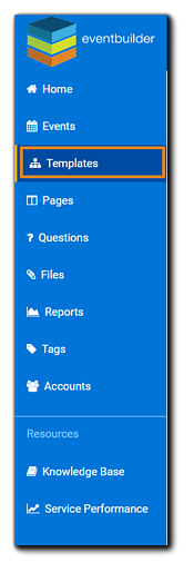 Screenshot: Dashboard navigation panel with Templates option highlighted.