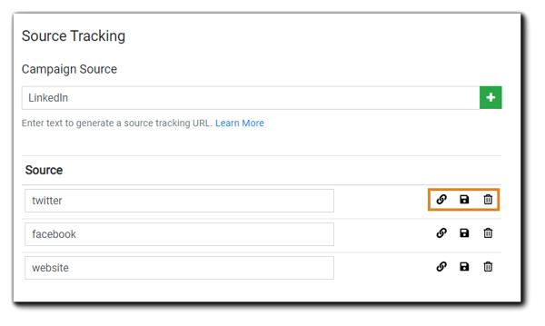 Screenshot: Source Tracking dialog.