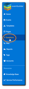 Screenshot: Left-side navigation with the Questions option highlighted.