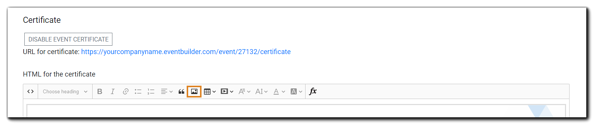Screenshot: HMTL editor for creating Event Certificate.
