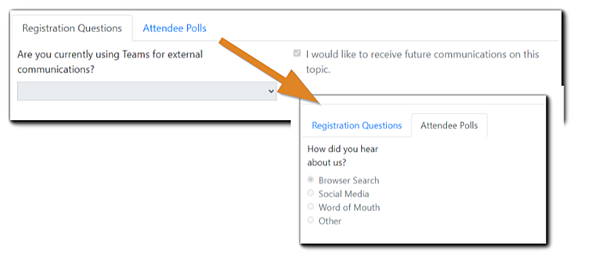 Screenshot: Registration questions view and Attendee Polls view (toggled).