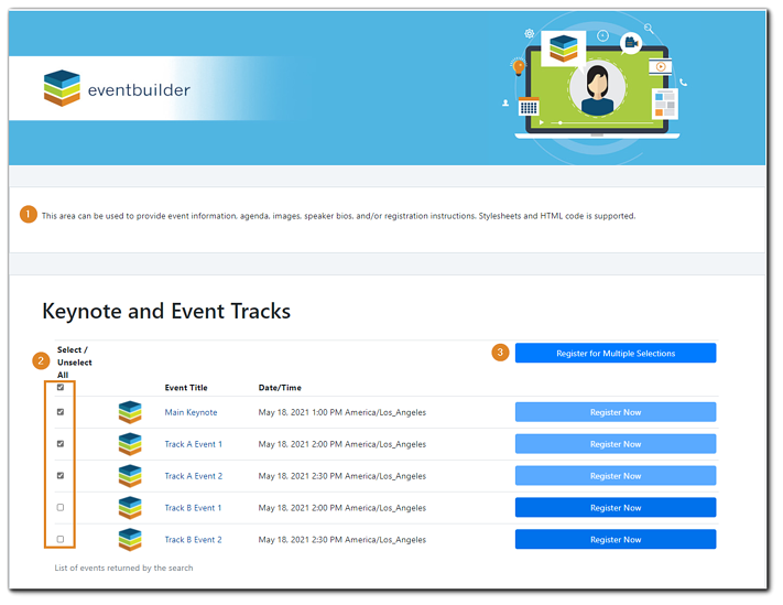 """Screenshot: Sample of multi-track event registration page. Transcript: This area can be used to provide event information, images, speaker bios, and/or registration instructions. Stylesheets and HTML code is supported."""""""