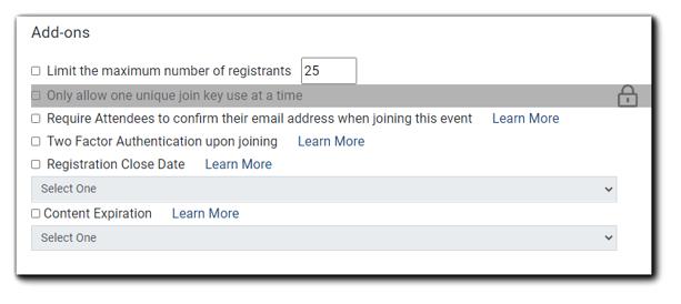 Screenshot: Security Add-on Options.