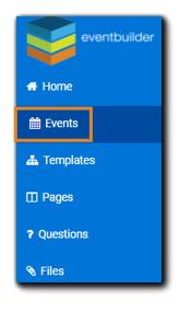 Screenshot: Left-side Dashboard navigation with Events option highlighted.