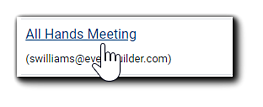 """Screenshot: A pointer selecting the """"All Hands Meeting"""" event."""