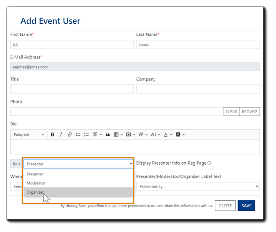 """Screenshot: Add Event User dialog with the """"role"""" dropdown menu open and Organizer selection highlighted."""