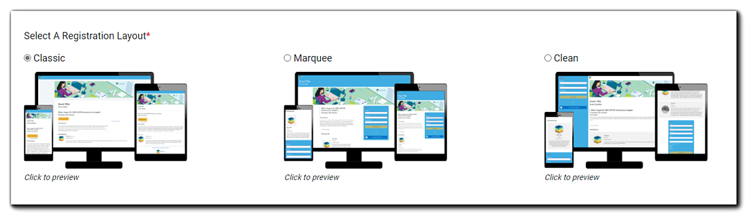 Screenshot: Registration page layout options: Classic, Marquee, Clean.