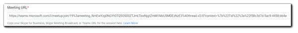 Screenshot: Meeting URL field on the Schedule step.