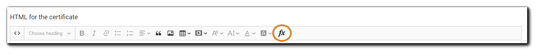 Screenshot: HTML editor toolbar with FX button highlighted.