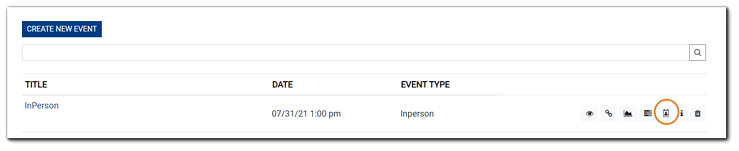 Screenshot: Events list, with the Registrant icon highlighted for an In-Person Event.
