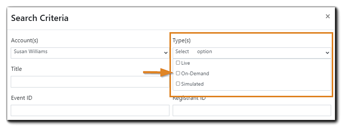 Screenshot: Search Criteria window with a multiple selection choice dropdown menu highlighted.