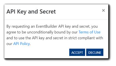 Screenshot: API Key and Secret use agreement confirmation.