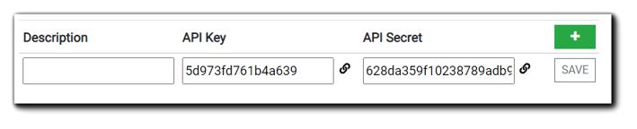 Screenshot: API Key and Secret creation dialog. Fields: Description, API Key, API Secret.