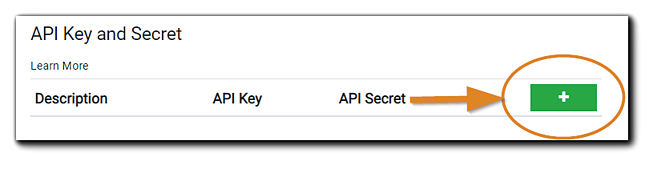 Screenshot: API Key and Secret dialog with green 'plus' button highlighted.