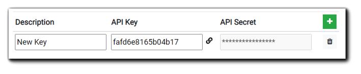 Screenshot: Saved API Key & Secret appearance.
