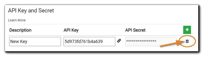 Screenshot: API Key & Secret login with the trash icon highlighted.