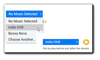 Screenshot: Music selection drop-down, Indie Chill is selected.
