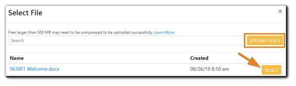 Screenshot: Select File dialog with the 'Upload Files' and 'Select' buttons highlighted.