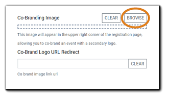 """Screenshot: Co-Branding image interface. Transcript: """"This image will appear in the upper right corner of the Registration Page, allowing you to co-brand an event with a secondary logo."""""""