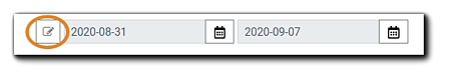 Screenshot: Dashboard widget editor with pencil icon circled.