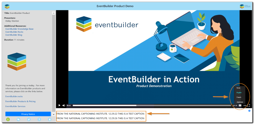 Screenshot: Live event viewing area with CC selection area highlighted and the location where captions will appear noted.