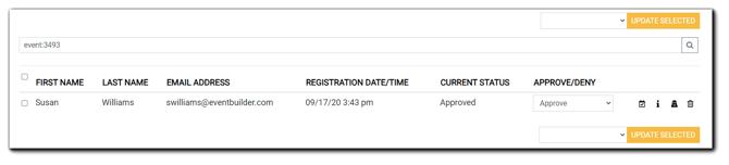 Screenshot: Selected Event's Registrant Management window.